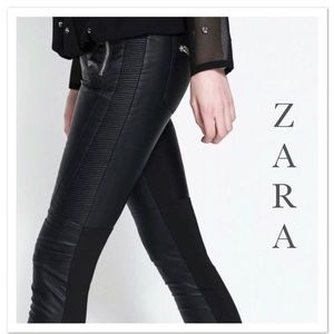 Zara Trafaluc Jeans, Black Moto Faux Leather - NWT